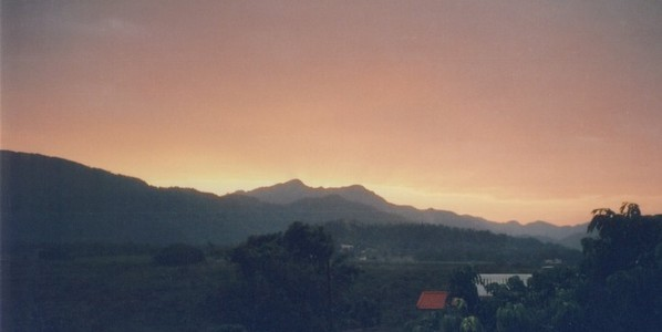 sunrise over the shivalik range from the ashram veranda